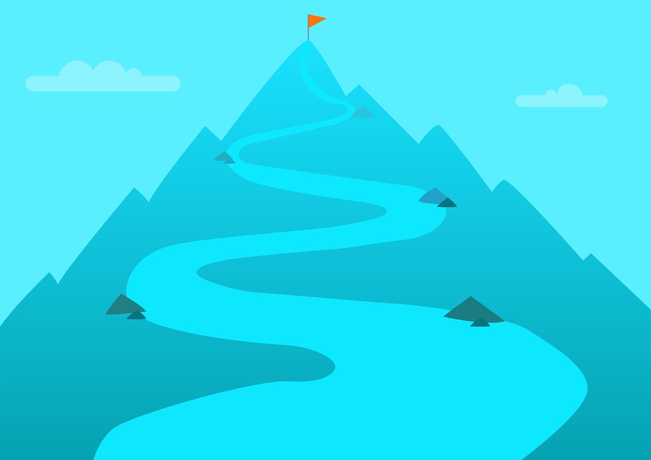山の頂上への道